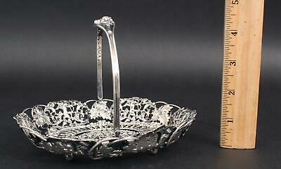 Small Antique Theodore B Starr Sterling Silver Openwork Grapevine Cupid Basket