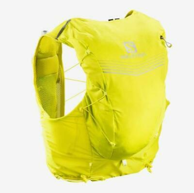 New Salomon Advanced Skin 12 Running Set Hiking Water Hydration Vest Yellow XS