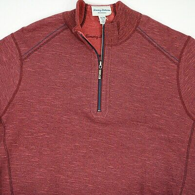 Tommy Bahama Men's size XL Red Reversible Flipsider Half Zip Sweater NEW NWT