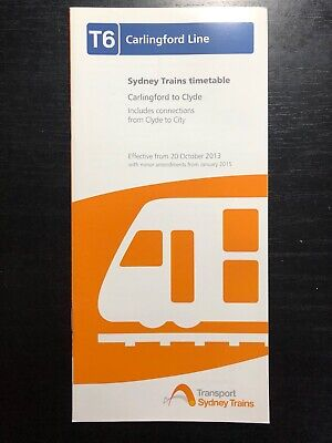 Sydney Trains T6 Carlingford Line 2013 Timetable GOOD CONDITION