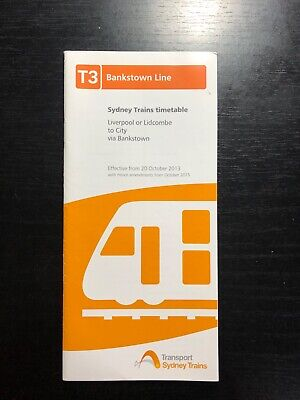 Sydney Trains T3 Bankstown Line 2013 Timetable GOOD CONDITION