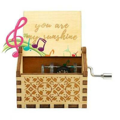 Vintage Wooden Hand Cranked Music Box Retro Home Ornaments Crafts Gift