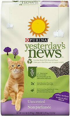 Purina Yesterday's News Non Clumping Paper Cat Litter, Softer Texture Unscented