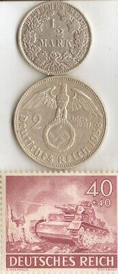 """*two *german Silver(.900%+.625%)-coins + WW2 -Stamp + *egyptian *king """"Tut"""" coin"""