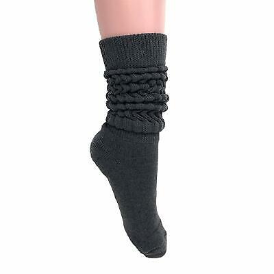 Women's Extra Long Heavy Slouch Cotton Socks Made in USA Size 9 to 11
