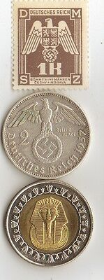 "- *""king  Tut""   +  *WW2 - *german   SILVER   coin / stamp  +"