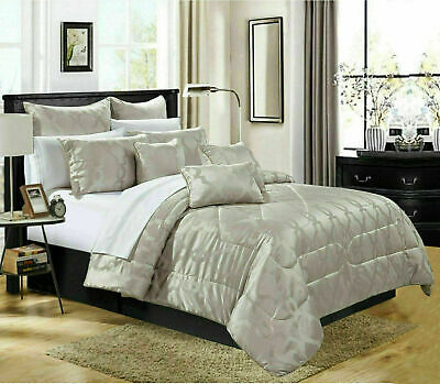 Luxury Quilted Jacquard Bedspread Double King Bed Throw Comforter Bedding Set
