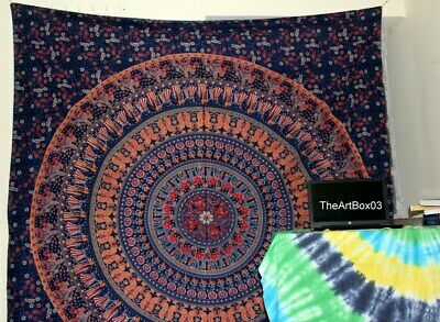 Authentic Mandala Tapestry Elephant Wall Hanging Gypsy Bedspread Throw Bohemian