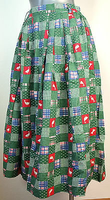Skirt Traditional Costume Meico Bell Shaped German Country Geese Green Patch 40