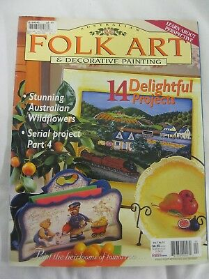 Aust Folk Art Decorative Painting Mag V7 N11 Wildflowers House Boats Brooch Tray