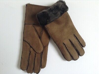 Ladies Genuine Sheepskin Gloves (Brown) - Medium