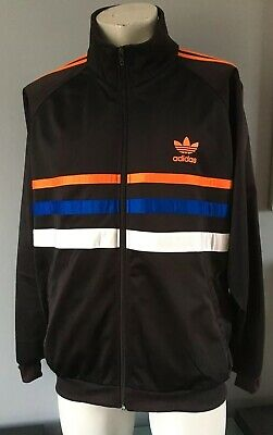 ADIDAS Zip Black Retro Vintage Sports Top Size Large