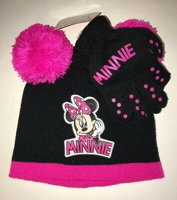 Youth Minnie Mouse Hat And Gloves Set One Size Fits Girls Age 3-6