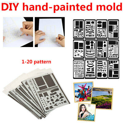 Multi Style Stencils Scrapbooking Stamp Paper Card Drawing Sheets Background