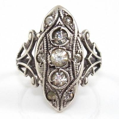 Vintage Antique Sterling Silver Art Deco Paste Stone Band Ring Size 5.25 SEK