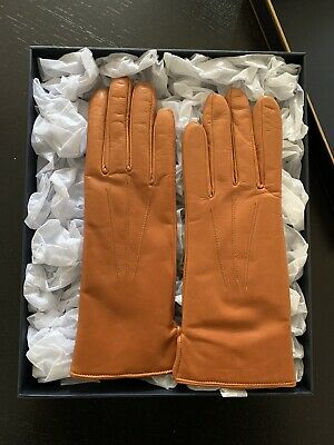 ASPINAL OF LONDON Ladies Cashmere Lined Tan Nappa Soft Leather Gloves NEW