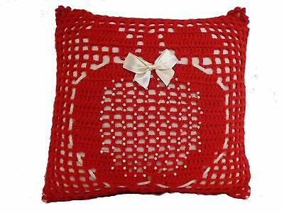 Handmade Knitted Acrylic Cushion - Red Apple with White Beads and Bow