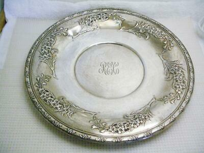 "WALLACE .925 Sterling Silver LARKSPUR 10 1/4"" Pierced Sandwich Plate 323 grams"