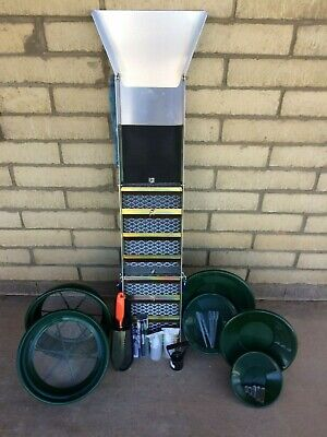 """BP20  50"""" Folding Aluminum Sluice Box & Gold Pan Kit With Carrying Backpack"""