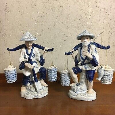 Pair Of Tall Oriental Fisherman Porcelain Figurines Blue White