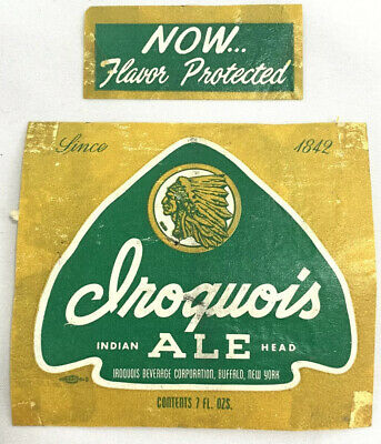 Iroquois Indian Head Arrowhead Green Beer Bottle Label Neck Buffalo New York NY