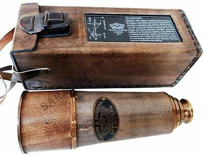 KEVIN & HUGHES LONDON 1917 Telescope Brass Antique 19'' with Leather Box