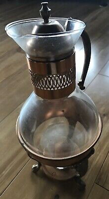 Vintage Coffee Glass Carafe And Warmer With Lid