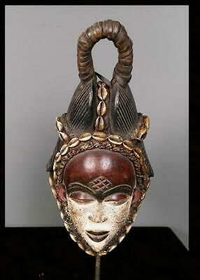 Old Tribal Punu Maiden Spirit  Mask With beads and Cowries. --  Gabon  BN 1