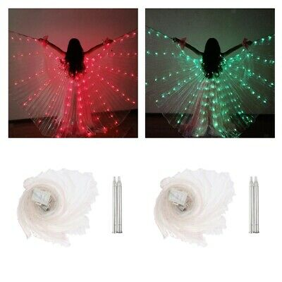2pcs Girls Fairy Light up LED Glowing Wings Butterfly Belly Dance Isis Wings