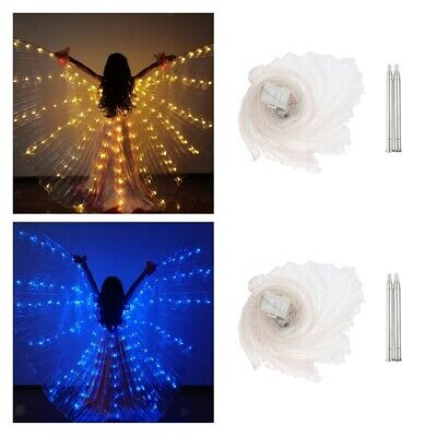 2pcs Girls Fairy Light up LED Glowing Wings Butterfly Belly Dance Isis Wing