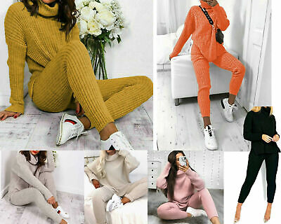 Ladies Chunky Knitted Polo High Neck Top Leggings Loungewear Suit Set Size 8-14