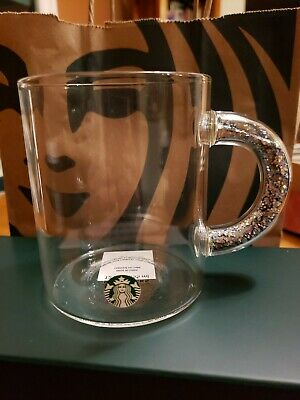 NEW Starbucks Clear Glass Mug With Silver Glitter in Handle 2019 Hot HTF
