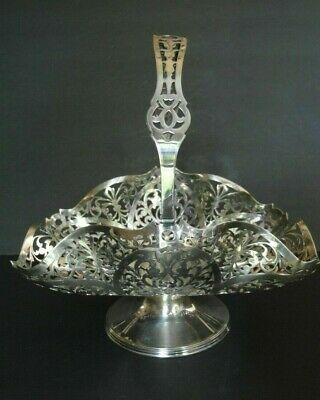 Antique Silver Plated Footed Basket With Handle-Cut Out Detail-Very Pretty
