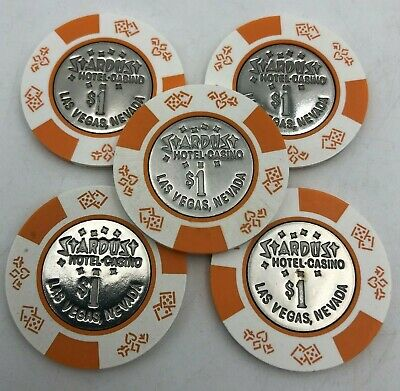(5) Stardust $1 Las Vegas Nevada Vintage Clay Casino Chip Lot