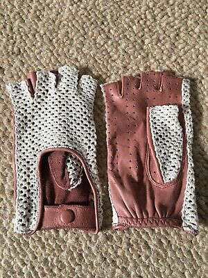 Vintage Pink Leather Fingerless Driving Gloves With Cream Mesh Panel, Size Small