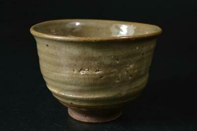 U3071: Japanese Old Karatsu-ware Green glaze TEA BOWL Green tea tool