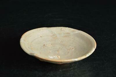 U3590: Japanese Old Karatsu-ware glay glaze ORNAMENTAL PLATE/Dish Tea Ceremony
