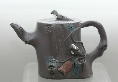 Excellant Quality Vintage Chinese Yixing Zisha Bird & Gum Tree Teapot Signed