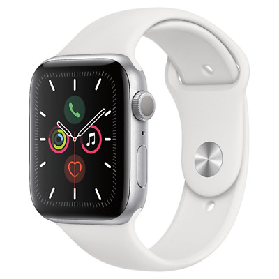 Apple Watch Series 5 44mm Silver Aluminum White Sp Band GPS MWVD2LL/A
