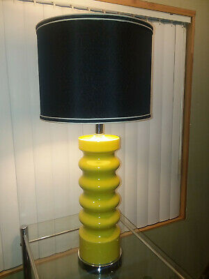 Mid Century Modern Canary Yellow VTG Mod Original Ceramic Table Lamp Chrome Base
