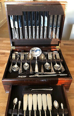 Superb Antique 128 Piece Canteen Of Dubarry Cutlery Silver Plated Sheffield EPNS