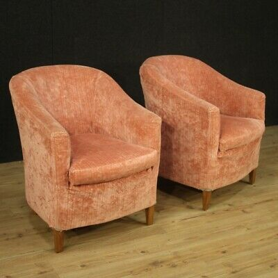 Pair of Armchairs Design Modernism Style Vintage Years 70 Furniture Chairs Pink