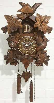 Musical and Bird Chime Black Forest Hunters Style Cuckoo Wall Clock  #1420
