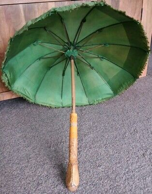 Stunning Antique Ladies Parasol With Superb Wooden Handle,Amazing Condition