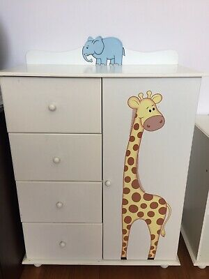 Chest Of 4 Draws And 1 Door Kids Storage With Animals On.