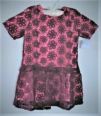 Girl Age 4 Special Party Dress flapper style DKNY BNWT Rose Brown Lace over pink