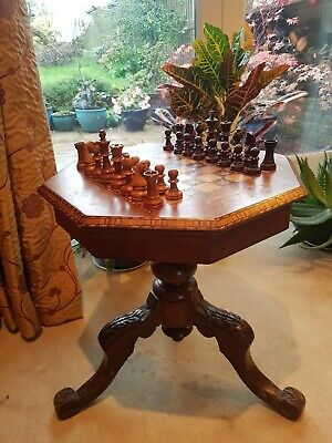 Victorian Chess Game Board Side Mahogany Inlaid Marquetry Hexagonal Table