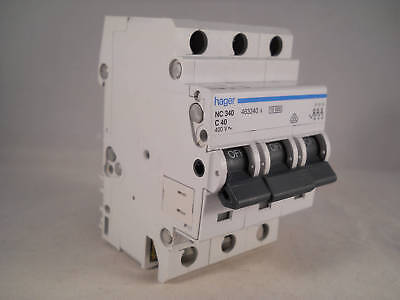 Hager MCB 40 Amp Triple Pole 3 Phase Circuit Breaker Type C 40A 463340 NC340