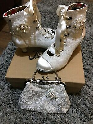 joe browns ivory satin ankle boot for formal or wedding size 7 used for 2 hrs