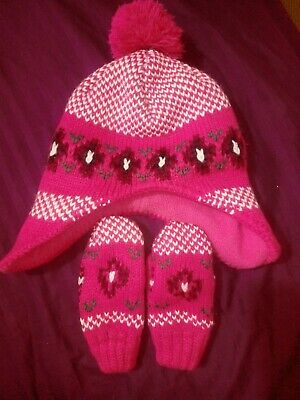 Girls winter pink hat and mittens set age approx 2-4 years